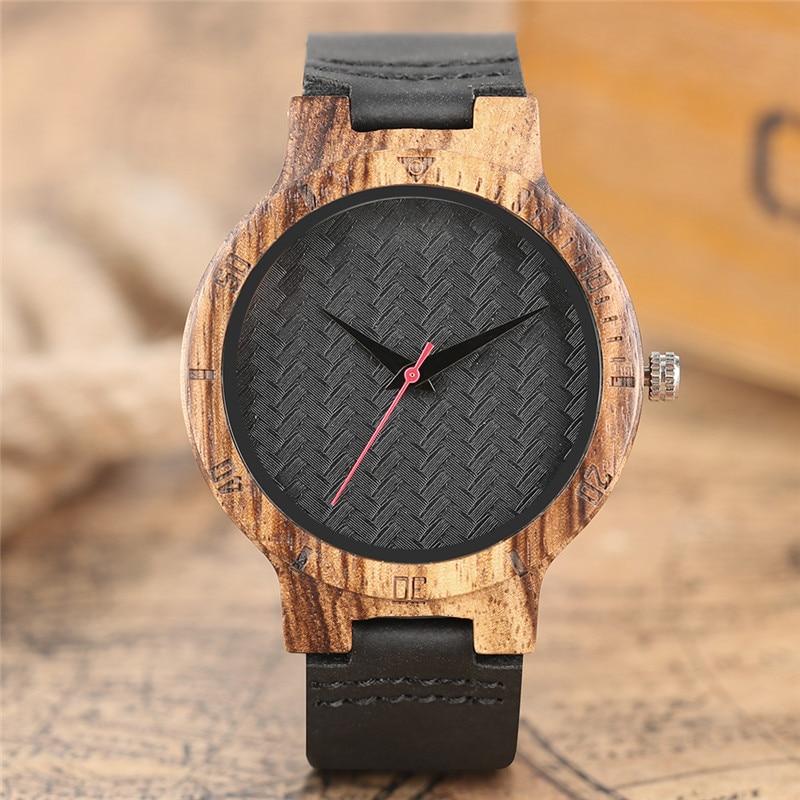 Creatief bamboe hout horloge natuurlijke zwarte lederen band minimalistische casual heren quartz horloge analoge sport relogio masculino