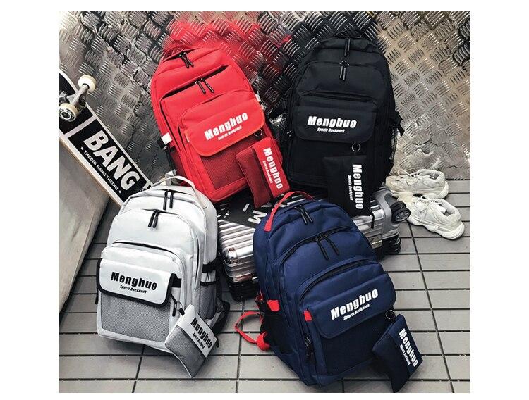 Menghuo 2PCS Mesh Pocket Backpack Purse Set New Girls Big Capacity School Bag Letters Travel Bag Men Rucksacks Mochilas Escolar_30-1_14
