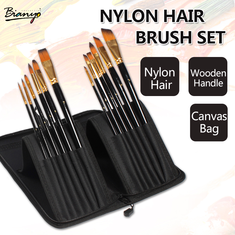 Bianyo 12pcs Brushes With Portable Bag Set For Professional Watercolor Acrylic Oil Painting Brush Set Artist School Supplies 16 holes portable professional oil painting brush watercolor brush case knife paper pen case drawing set acrylic set bag only
