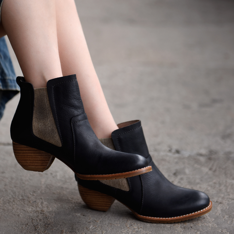 Artmu / Artdiya Original Retro Medium Heels Women Boots Chelsea Ankle Boots 2018 New Genuine Leather Handmade Boots Black 8100-2 цены онлайн