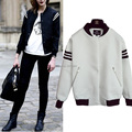 Clearance High Street Black/White Baseball Jacket Women Coat Bomber Jackets casacos jaqueta baseball feminina