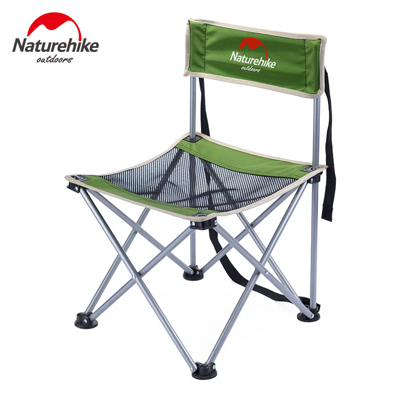 Naturehike Portable Fishing Chair Foldable 2 Colors Steel Folding Hiking Picnic Barbecue Beach Vocation Camping Chairs naturehike fishing chair portable folding chair for camping hiking gardening beach barbecue with bag