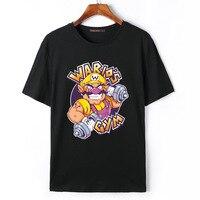 Flevans Hot Koop 2017 Nieuwe Komen 100% Katoen Merk Mannen T-shirts Super Mario Bros Wario Print heren T-shirt Hiphop T shirts