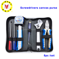 8 in 1 Hand Tool Set Screwdriver Spanner Wrench Cutting Pliers Household Repair Tools Kit with Storage Box Hand Tool Sets    -