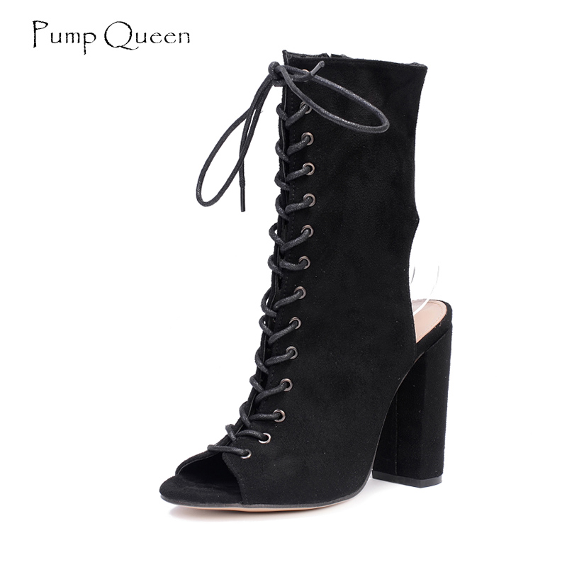 Women Boots Lace Up Rome Fashion Style Black High Heels Shoes Woman Summer Female Shoes Peep Toe 2018 Spring Boots enmayer new women high heels fashion cut outs lace up knee high boots shoes woman summer peep toe sandals boots black shoes