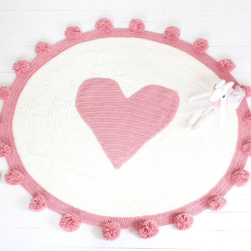 Pink Hot Knitted Blanket High Quality Acrylic Floor Carpet Girls Room Decoration Blanket PInk Heart Mat Girls Room Blanket