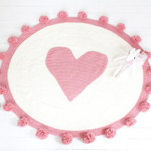 Knitted Blanket Heart-Mat Room-Decoration Acrylic Girls Hot Pink Carpet Floor High-Quality