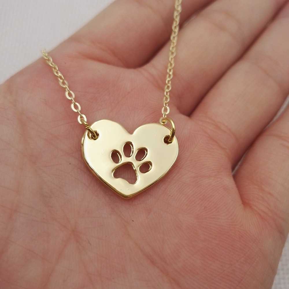 2016 New Good Lovely Cute Dog Paw Mom Heart Necklace
