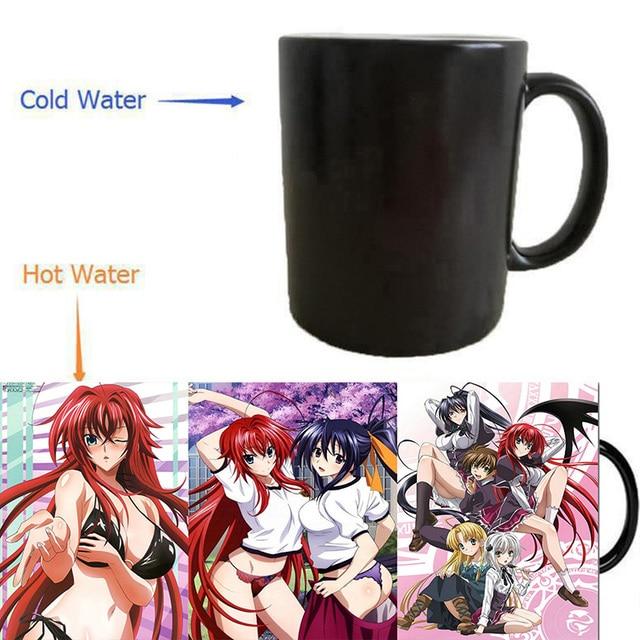Anime mugs heat changing color heat reveal  magic beer tea coffee mug novelty ceramic