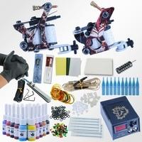 Pro 1 Set 20 Color Tattoo Equipment Dual Machine Tattoo Machine Set 2 Gun Power Supply Cord Kit Body Tattoo Beginner Kit