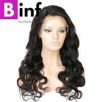 BINF Hair Brazilian Body Wave Wig 13x4 Lace Frontal 100% Human Hair For Women 150% Density Remy Hair With Baby Hair colour 1B