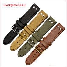 Laopijiang Moda Correa de Cuero Negro/BROWN CORREA relojes de alta gama accesorios 20/22mm