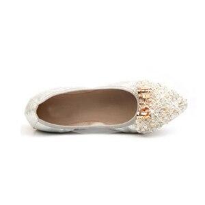 Image 3 - Beyarnebutterflyノットポインテッドトゥレディース靴フラッツ新ストリングビーズカジュアルバレエシューズプラスサイズ 45 scarpeドナ女性