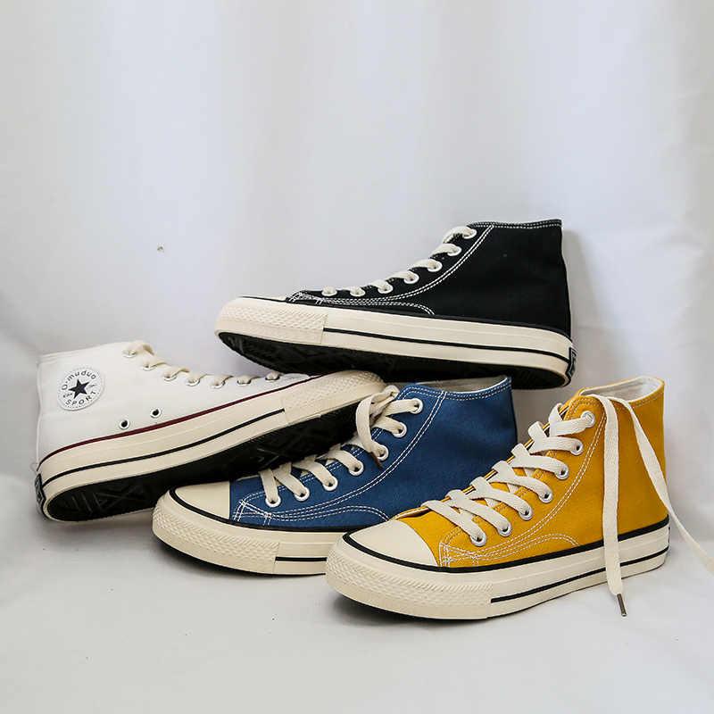 Romмедаль, высокие мужские парусиновые кроссовки, Классические, для катания на коньках, желтый, белый, черный, синий цвет, мужская повседневная обувь, обувь на шнуровке для мальчиков, 2019
