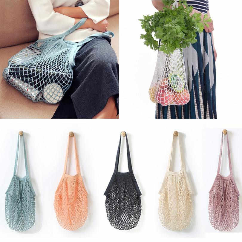 Hot Sale Mesh Net Shopping Bag Long Handle Shoulder Bag Reusable Fruit String Grocery Shopper Cotton Tote Mesh Woven Net Bags