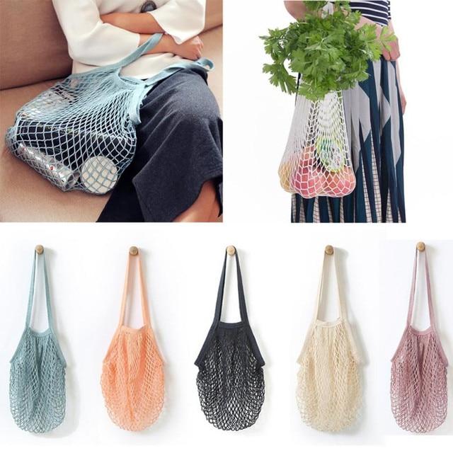Лидер продаж сеточку сумка-шоппер длинной ручкой сумка многоразовые фрукты строка Бакалея Shopper хлопок сумка сетки сетка тканая сумки
