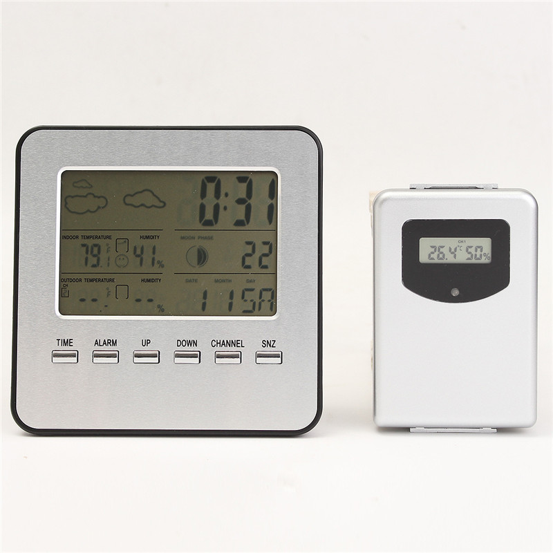 Silver Grey  Plastic Wireless Weather Station Thermometer Clock LCD Display Humidity Temperature  Free Shipping jacques lemans jacques lemans 1 1654h