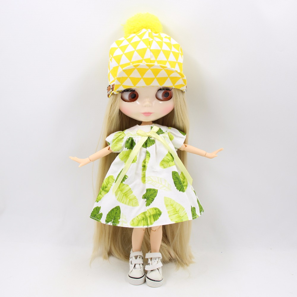 Neo Blythe Doll Green Dress With Hat & Stockings 5