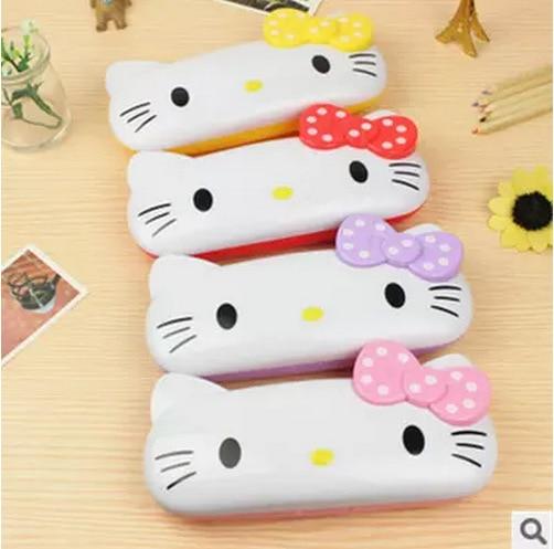 Cartoon Plastic Box Hello Kitty Makeup Organizer KT Double Pencil Glasses Box Storage Box Weight 90g