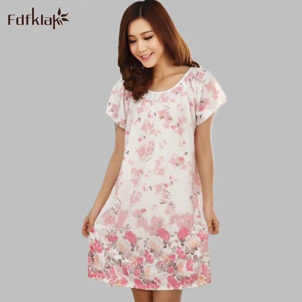 Fdfklak Cotton And Silk Sleepshirt Summer Dress E0789 Fashion New Nightgowns  For Women Long Cartoon Girls Nightwear Nightdress 2dbfcd23d
