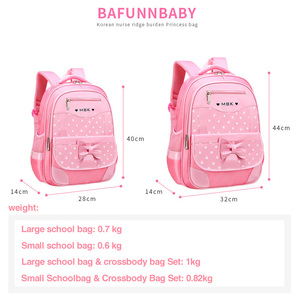 Image 3 - DIOMO 6 12 Year Old childs School Bag Set for Girl Fashion Dot Cute Bow School Backpack Starting School The Best Gift for Girl