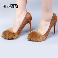 Купить с кэшбэком She ERA Slip On Flock Pointed Toe High Heel Pumps Wedding Sexy Faux Fur Design Thin Woman High Heel Shoes