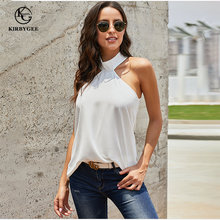 KirbyGee Zomer Sexy Halter Hals Tank Top Vrouwen Coltrui Mouwloze Shirt Wit Losse Plus Size Effen Kleur Party Blouse Top(China)