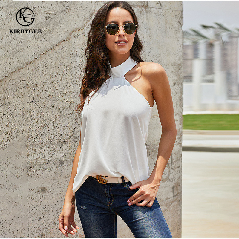 KirbyGee Summer Sexy Halter Neck   Tank     Top   Women Turtleneck Sleeveless Shirt White Loose Plus Size Solid Color Party Blouse   Top