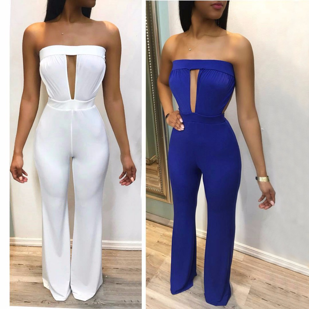 2018 Fashion Casual Pure Color Sexy Hollow Out Strapless Female Wide Jumpsuits Backless Summer Cloth Sexy Rompers For Women