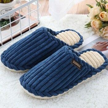 Home slippers for men corduroy cheaper designer short plush winter slippers men warm comfortable non-slip male slippers 1