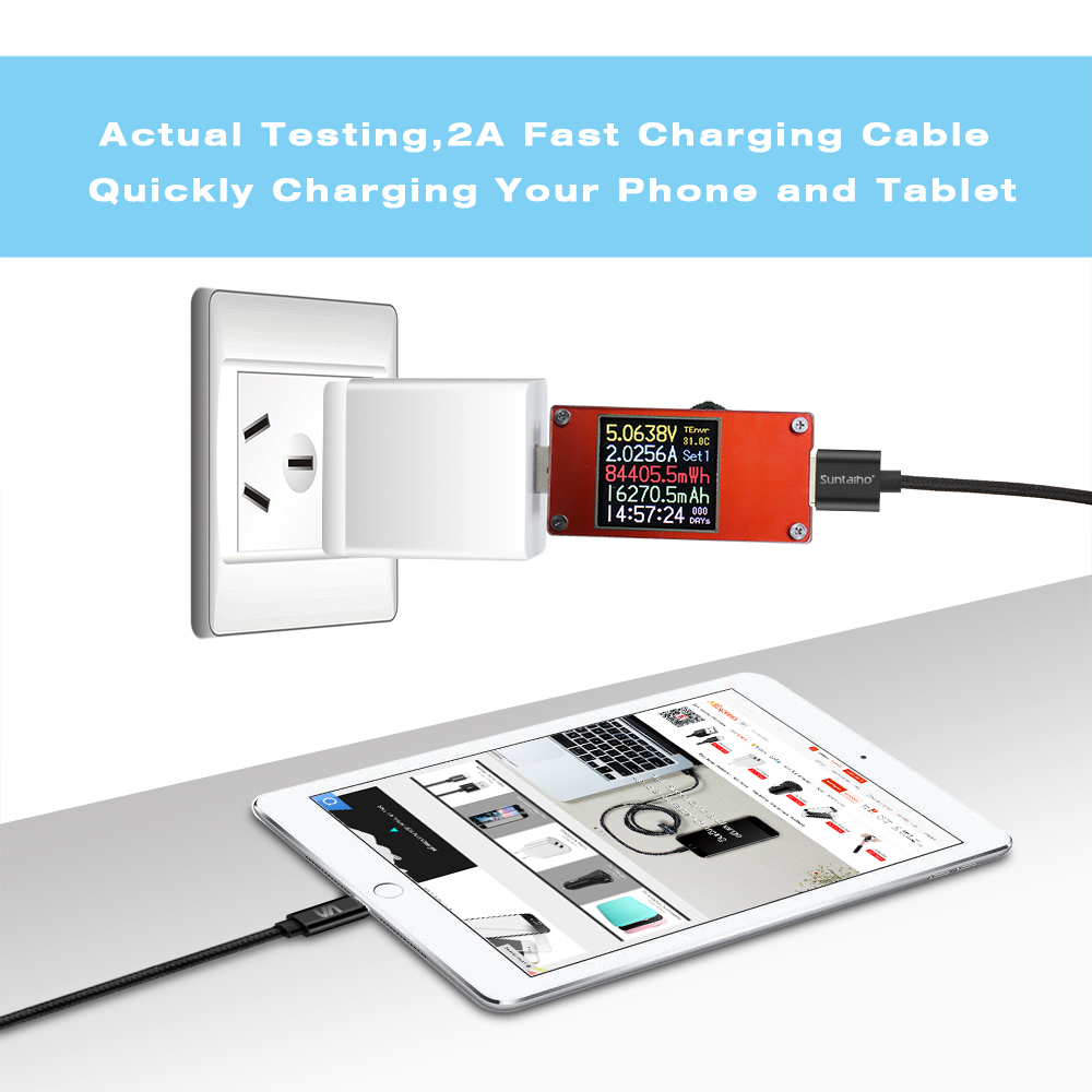 Suntaiho USB Type A Cable With Nylon 2.1A For Lighting Fast Charging For iPhone Models 17