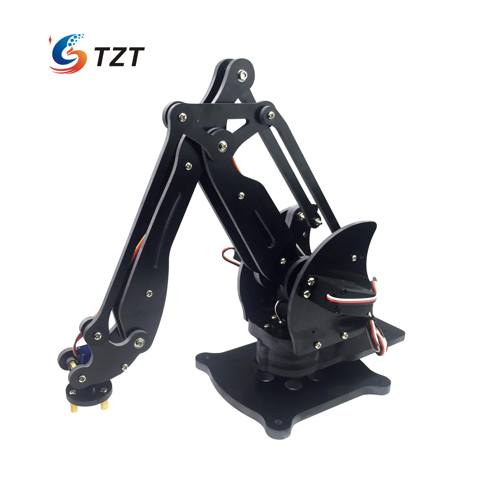 Assembled 4DOF Mechanical Robot Arm Clamp Claw Manipulator Arm with Servos PVC,CNC Processing for Arduino DIY