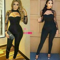 2017 Latest Women Lace Long LSeeve Black Full Length Bandage Jumpsuit Rayon High Quality Bodysuits For
