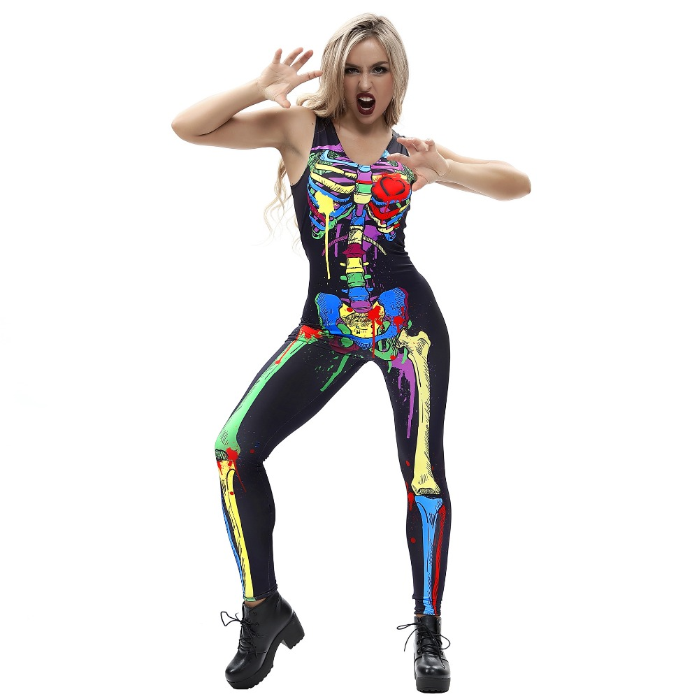 Halloween flowers and skeleton cosplay printed sexy women's tight-fitting jumpsuit sweatshirt Workout clothes Running jumpsuit