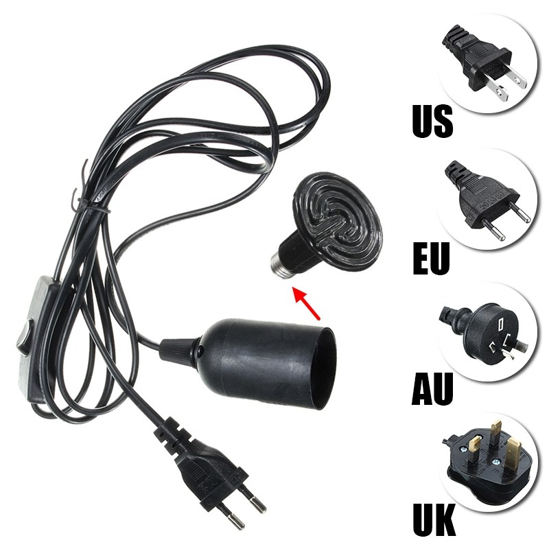 US/EU/UK/AU Stecker Lampensockel E27 Sockel Lampensockel Halter 2 Mt Kabel Für Reptil keramische Infrarot Heizstrahler Lampe Licht Lampe