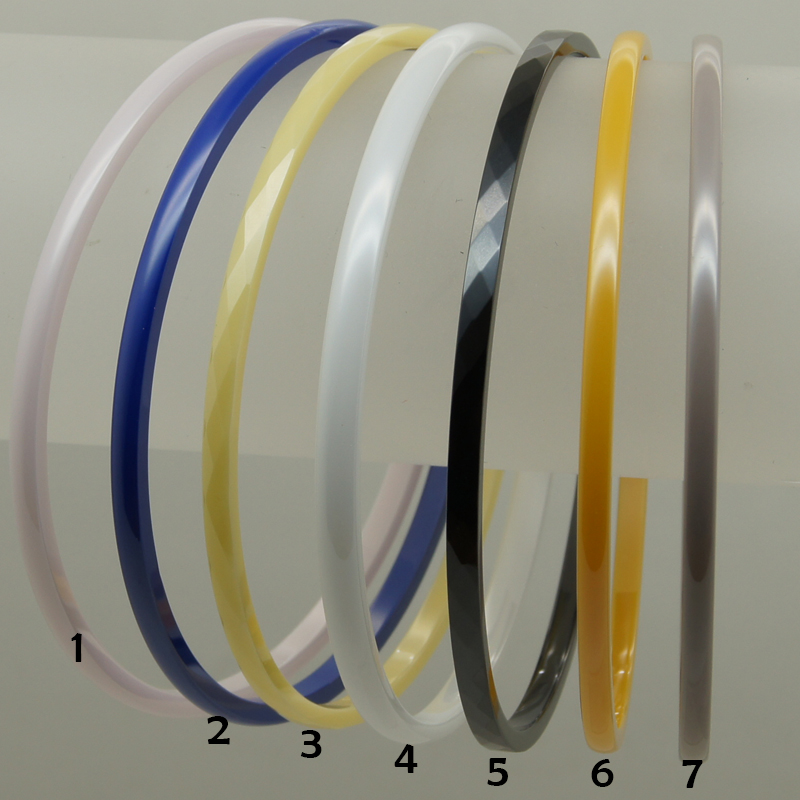 1 pink , 2 blue, 3 light yellow, 4 white 5 black 6 yellow 7 pale pinkish purple elegant hi tech scratch proof ceramic bangle