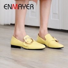 ENMAYER 2019 New Arrival  Mary Janes  Genuine Leather  Casual  Women Flats  Solid  Slip-On Women Fashion Shoes Size 34-40 LY2174 цены онлайн