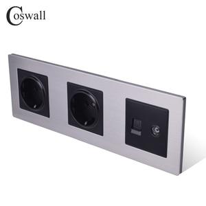 Image 2 - COSWALL 스테인레스 스틸 패널 이중 벽 소켓 16A EU 전원 콘센트 + 여성 TV 잭 RJ45 CAT5E 인터넷 포트 실버 블랙