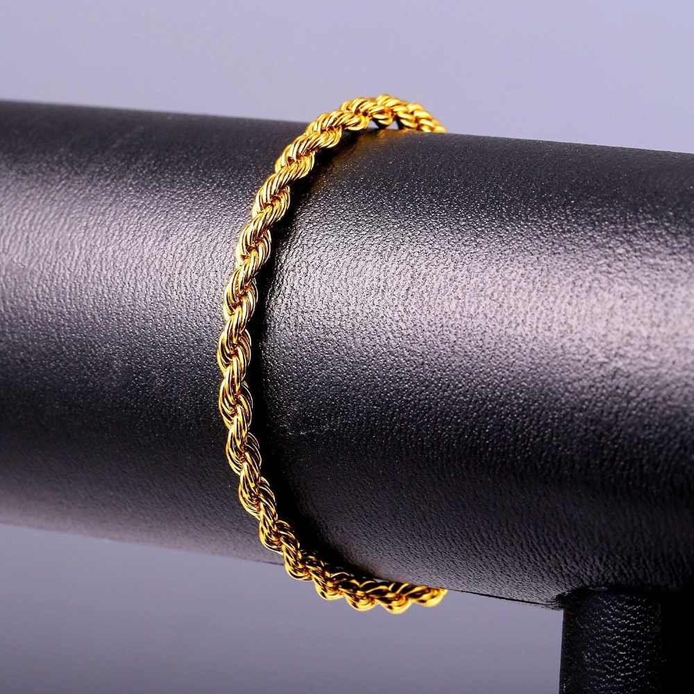 MxGxFam (20 センチメートル × 4 ミリメートル) 316L titanium 鋼織りロープチェーンブレスレットジュエリー男性ファッションジュエリーゴールド色なしフェード