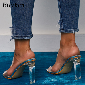 Image 5 - Eilyken PVC Transparent Slippers Open Toes Sexy Serpentine High Heel Crystal Womens Shoes Transparent High Heels 11cm Slippers