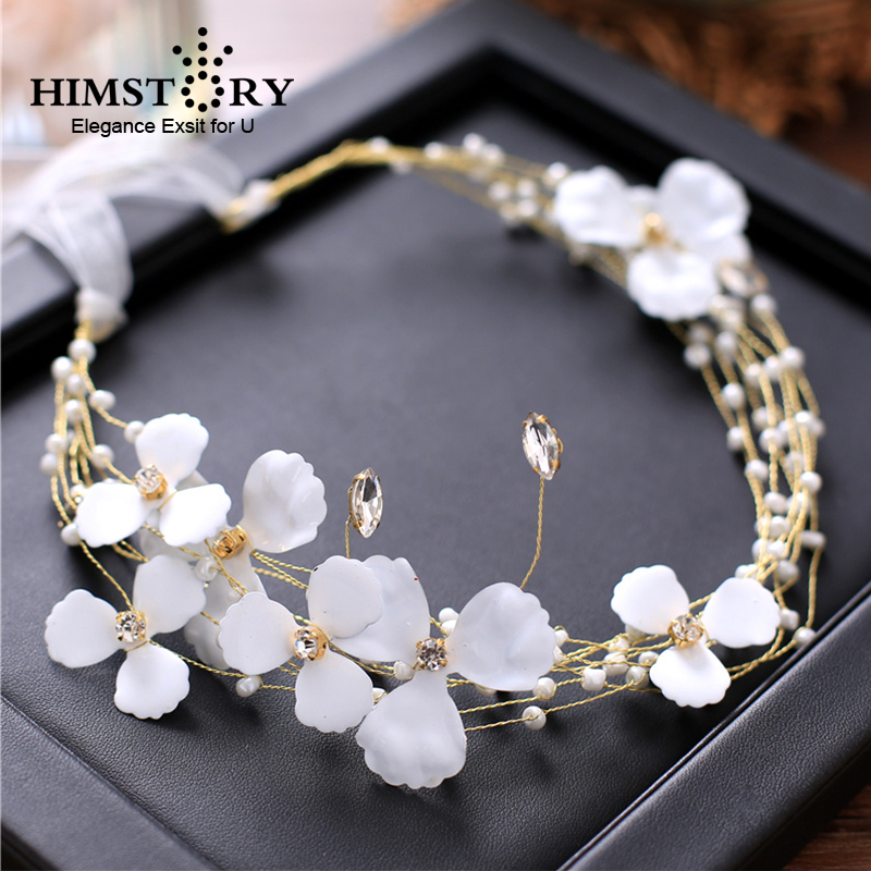 HIMSTORY New Angels Flower Hair Jewelry Gold Handmade Headband Crystal Rhinestone Hairband Bridal Women Wedding Accessories