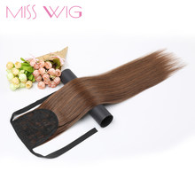 "MISS WIG 12 Colors Available 22"" Long Silky Straight Synthetic Drawstring Ponytail Clip in Extension Style(China)"