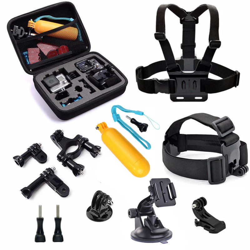 10 in 1 Accessories Kit for GoPro Hero4 3 3+ Mountain Biking Skiing Snowboarding Diving&Other Outdoor Sports Also Fit SJCAM Cam