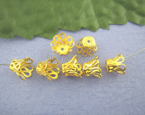 1300Pcs Wholesales Ornate Filigree Bell End Beads Caps Gold Plated New DIY Jewelry Making Findings Component 7mm