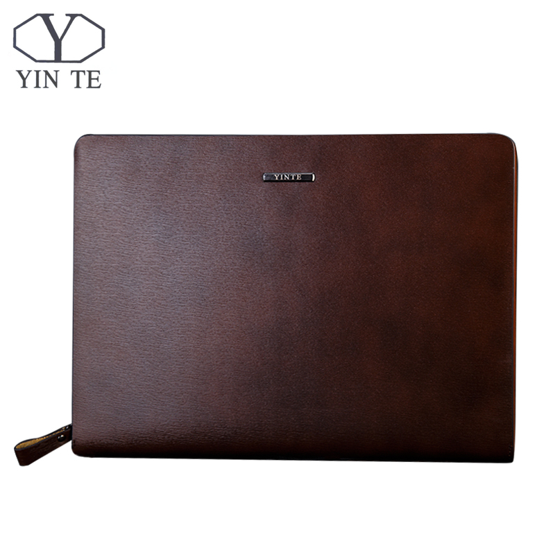 YINTE Fashion Leather font b Men s b font File Folder Bag A4 Paper Business Clutch