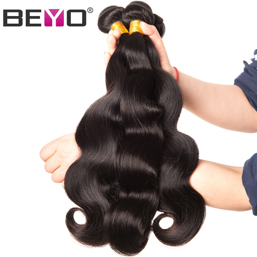Beyo Hair Brazilian Body Wave Hair Weave Bundles Naturfarve 100% Human Hair Bundles 1/3 / 4PCS Non-Remy Hair Extensions