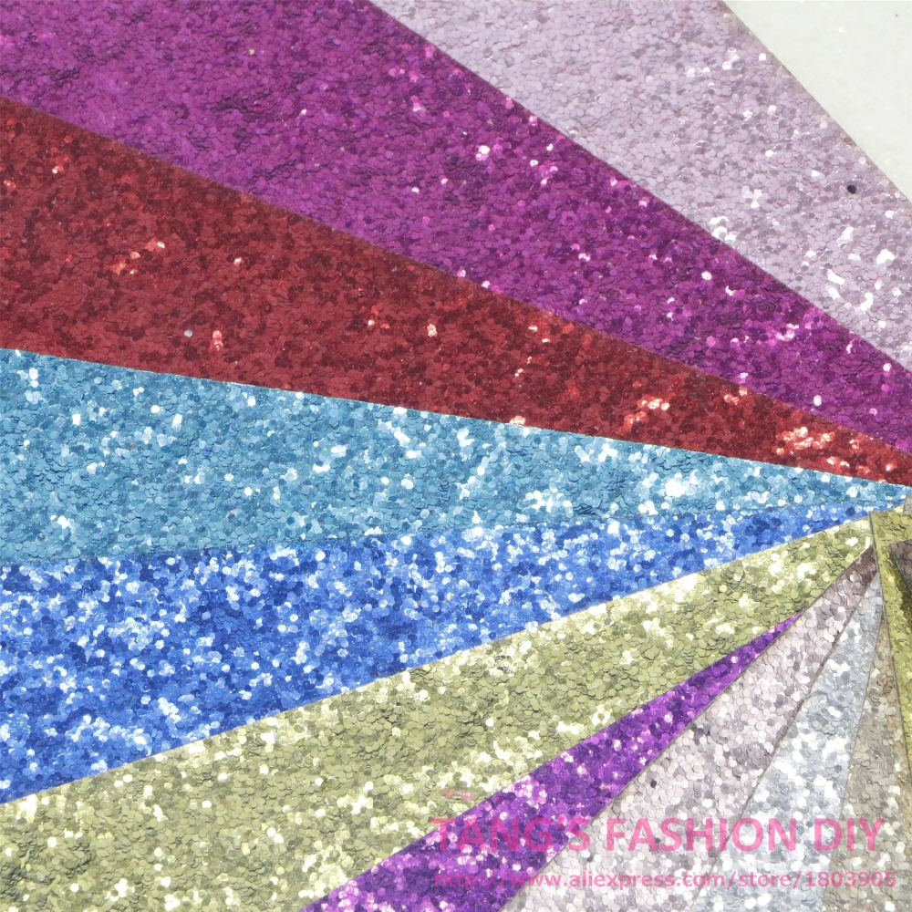 22 PCS/SET--20X22CM PER PCS DIY High Quality CHUNKY Glitter Leather&Fabric/Synthetic leather( Total 22 Colors Available)