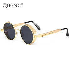 a8e65d1d55a QIFENG Steampunk Goggles Sunglasses Men Women Brand Designer Vintage Round  Sun Glasses For Retro UV400 Female Male Oculos QF025