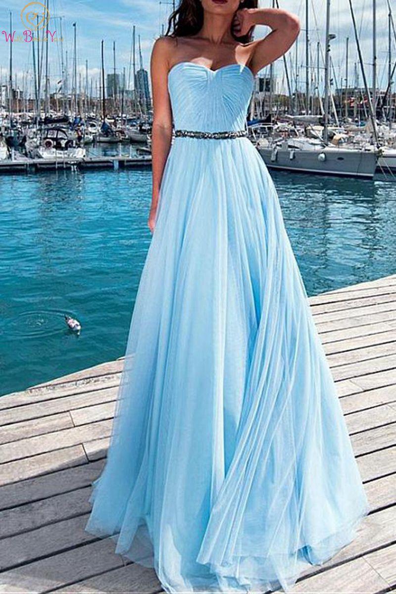 Light Blue   Prom     Dresses   2019 Elegant Strapless Floor Length Long Tulle Sleeveless Simple Formal Party Evening Gowns gala jurken