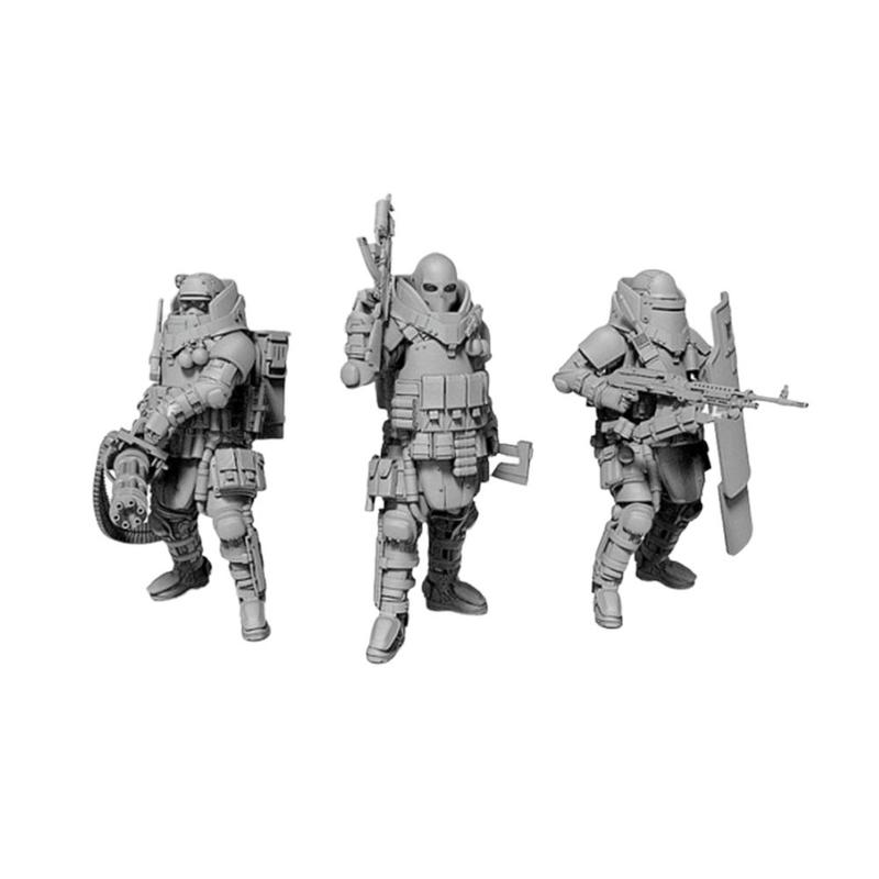 YUFAN 1/35 Resin Soldier Set 3 Pcs Heavily Armored Soldier Of The Future Resin Scale Model Kit